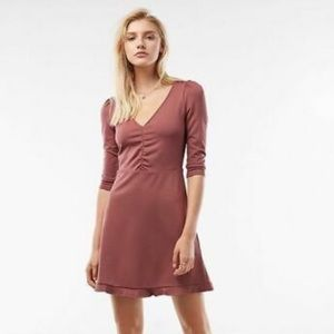 NEW espresso puff sleeve ruffle mauve dress